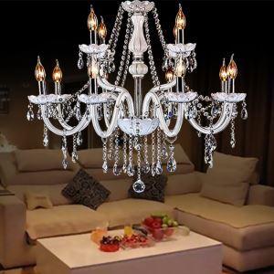Anmutiger Kronleuchter Kristall Kerzen Design in Weiß für Schlafzimmer