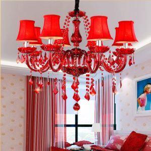 Entzückender Kronleuchter Kristall in Rot für Schlafzimmer