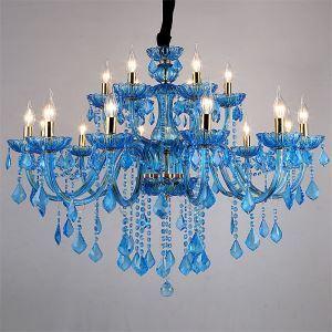 Mediterraner Stil Kronleuchter Kristall in Blau für Wohnzimmer