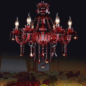 Kristall Kronleuchter Europäisch Kerzen Design in Rot