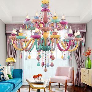 Kristall Kronleuchter Macarons Bunt Kerzen Design für Kinderzimmer