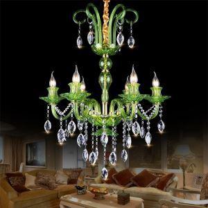 Kristall Kronleuchter Europäisch in Grün oder Cognac für Esszimmer