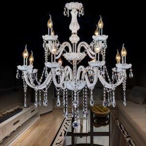 Eleganter Kronleuchter Kristall Kerzen Design in Weiß für Schlafzimmer