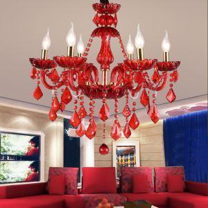 Aparter Kronleuchter Kristall Kerzen Design in Rot für Hochzeit