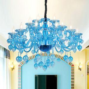 Kronleuchter Kristall Mediterraner Stil in Blau für Schlafzimmer