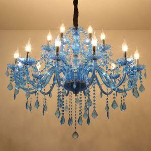 Kristall Kronleuchter Mediterraner Stil in Blau für Hotel