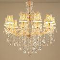 Kristall Kronleuchter Kerzen Design in Gold Transparent 10 flammig für Wohnzimmer