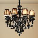 Kristall Kronleuchter Kerzen Design in Schwarz 3/6/8/10 flammig für Wohnzimmer