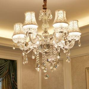 Kristall Kronleuchter Modern Kerzen Design Transparent für Wohnzimmer
