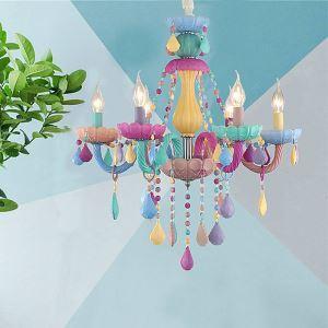 Wunderschöner Kronleuchter Kristall in Macarons Farbe für Kinderzimmer
