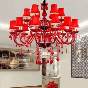 Exklusiver Kronleuchter Kristall Kerzen Design in Rot für Hochzeit