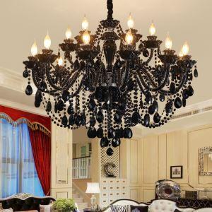 Schöner Kronleuchter Kristall in Schwarz Kerzen Design für Wohnzimmer