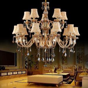 Kristall Kronleuchter Bezaubernd Kerzen Design in Beige für Wohnzimmer