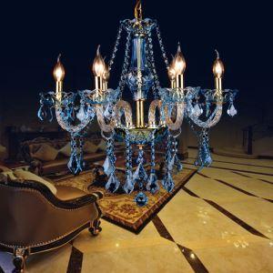 Kristall Kronleuchter in Blau Kerzen Design für Wohnzimmer