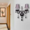 Kristall Wandleuchte Kerzen Design in Schwarz 2 flammig für Schlafzimmer