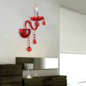 Wandleuchte Kristall kerzen Design in Rot 1/2 flammig für Flur