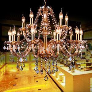 Kristall Kronleuchter Kerzen Design in Beige für Wohnzimmer