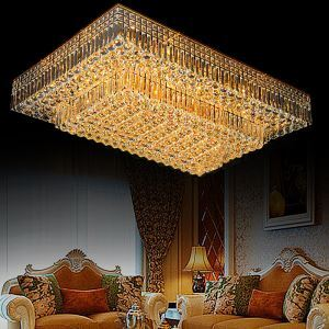 Moderne LED Deckenleuchte Kristall Eckig für Wohnzimmer