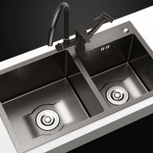 Küchenspüle Edelstahl mit Zwei Becken in Schwarz 7843