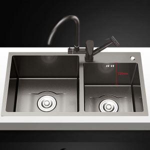 Küchenspüle Edelstahl mit Zwei Becken Nano-Beschichtung Oberfläche in Schwarz