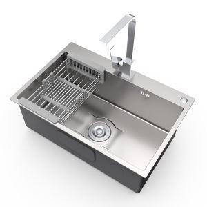 Küchenspüle Edelstahl mit Abtropfkorb Gebürstet 6845