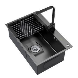 Moderne Küchenspüle Edelstahl mit Abtropfkorb Eckig in Schwarz