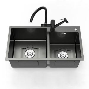 Küchenspüle Edelstahl mit Zwei Becken Eckig in Schwarz 8245
