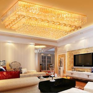 LED Kristall Deckenleuchte Eckig Golden Moderne Stil