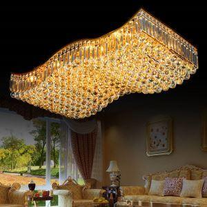 LED Kristall Deckenleuchte Welle Design Golden für Wohnzimmer