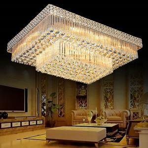 LED Deckenleuchte Kristall Eckig für Wohnzimmer