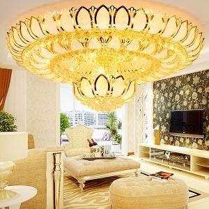 Moderne LED Deckenleuchte Kristall Lotosblume Design Golden