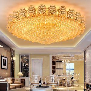 LED Deckenleuchte Kristall Rund in Golden Luxus Stil