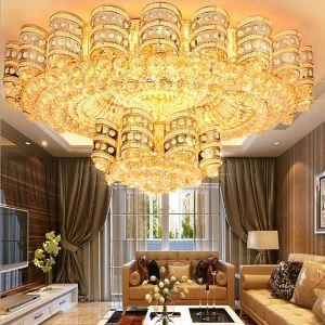 Luxus LED Deckenleuchte Kristall Rund in Golden