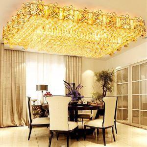 LED Deckenleuchte Kristall Eckig in Golden für Wohnzimmer Luxus Stil