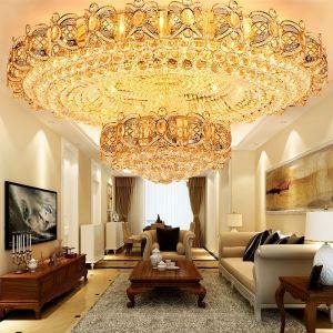 LED Deckenleuchte Kristall Rund in Golden für Wohnzimmer Luxus Stil