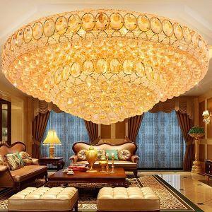 Luxus LED Deckenleuchte Kristall Rund in Golden für Wohnzimmer