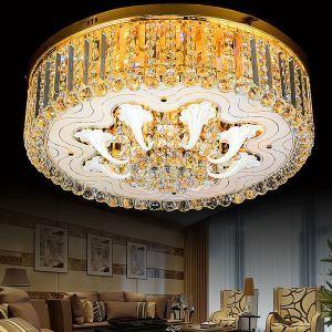 Europäische Deckenleuchte Kristall Rund in Golden Für Esszimmer