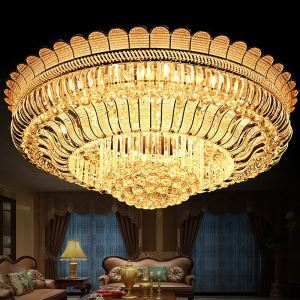 Luxus LED Kristall Deckenleuchte Rund in Golden für Wohnzimmer