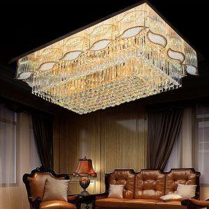 Moderne Kristall Deckenleuchte Eckig für Wohnzimmer