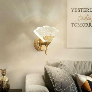 Led Wandleuchte Kristall Ginkgo Blatt Design für Schlafzimmer