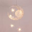 LED Pendelleuchte Mond Stern Design 5 flammig im Kinderzimmer