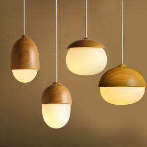 Moderne Pendelleuchte Holz Aussehen aus Metall Glas