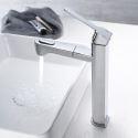 Waschtischarmatur mit ausziehbarer brause aus Messing chrom/ schwarz hoch