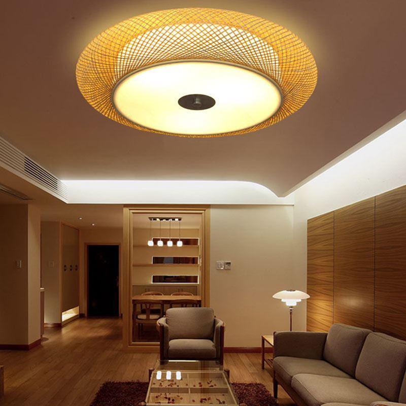 japanische deckenlampe aus bambus rund f r wohnzimmer
