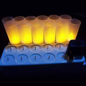 (EU Lager)12er Set warm gelbe wiederaufladbare LED-Kerzenleuchte