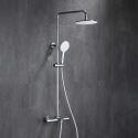 Duschsystem Thermostat Aufputz Regendusche Rund mit Handbrause in Chrom