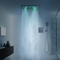 Duschsystem Thermostat Unterputz Regenfall in Schwarz Regenbrause von 16/20 Inch
