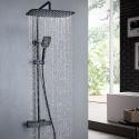 Duschsystem Thermostat Aufputz mit Handbrause in Schwarz/Chrom