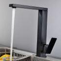 Küchenarmatur Einhand Auslauf Drehbar Eckig Design in Schwarz/Gebürstet