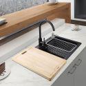 1 Becken Einbau Küchenspüle aus Quarzstein in Schwarz